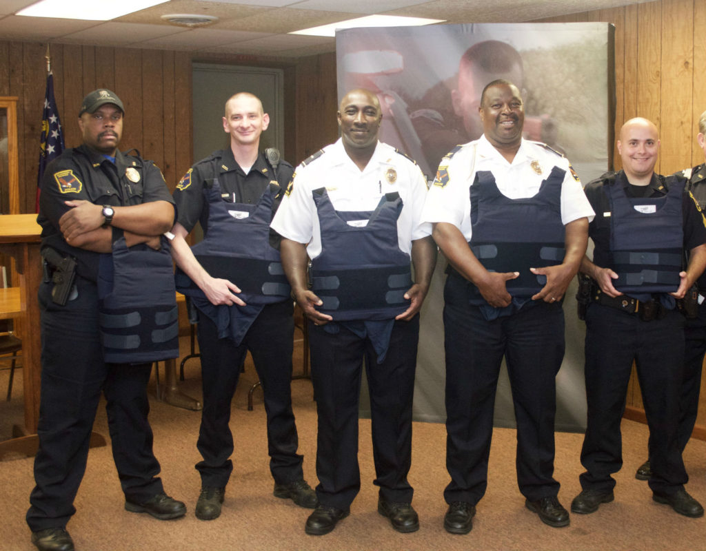 The Woodbury, Georgia Police Department receiving new donated body armor from the American Armor Foundation.
